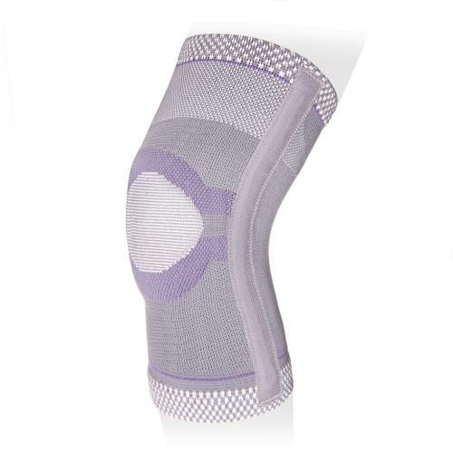 Бандаж на коленный сустав эластичный с ребрами жесткости и силиконовым кольцом KS-E03
